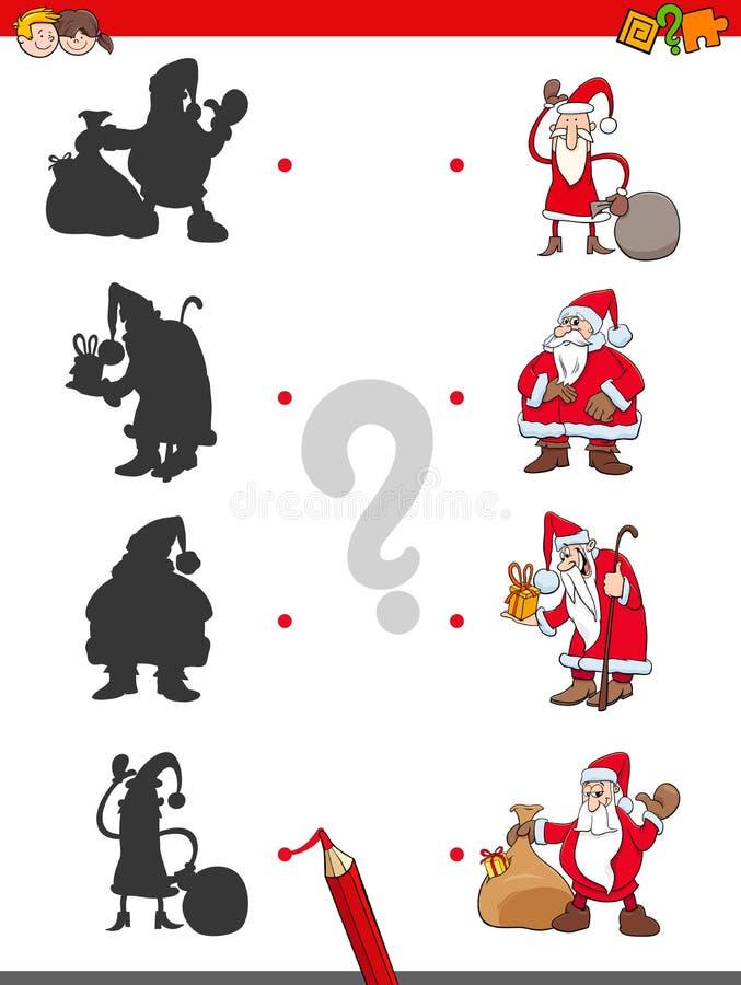 Jogo das sombras do fósforo com Santa Claus ilustração do vetor
