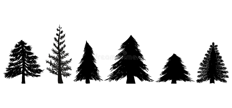 Jogo de árvores verdes ilustração royalty free