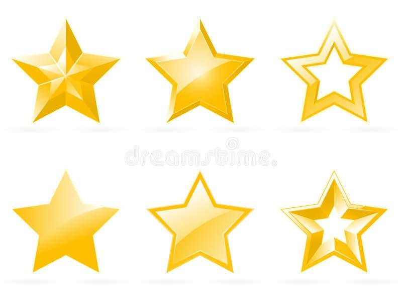 Jogo de ícones brilhantes da estrela ilustração royalty free
