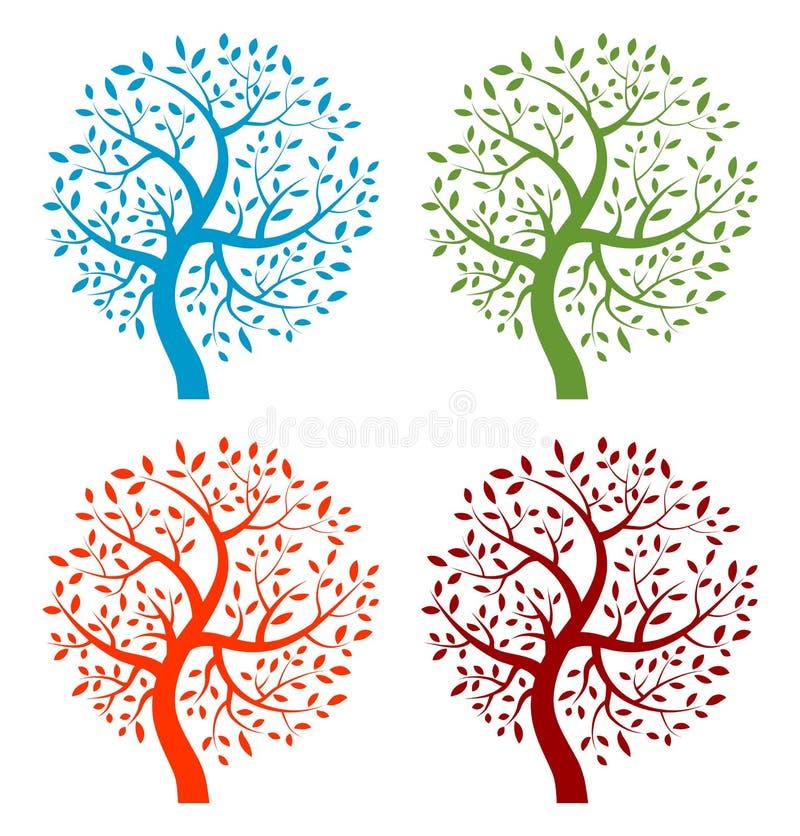 Jogo de ícones coloridos da árvore da estação ilustração royalty free