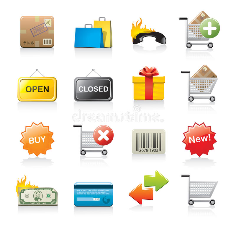 Jogo de ícones da compra ilustração do vetor