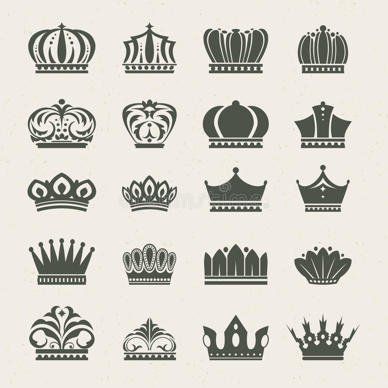 Jogo de ícones da coroa ilustração do vetor
