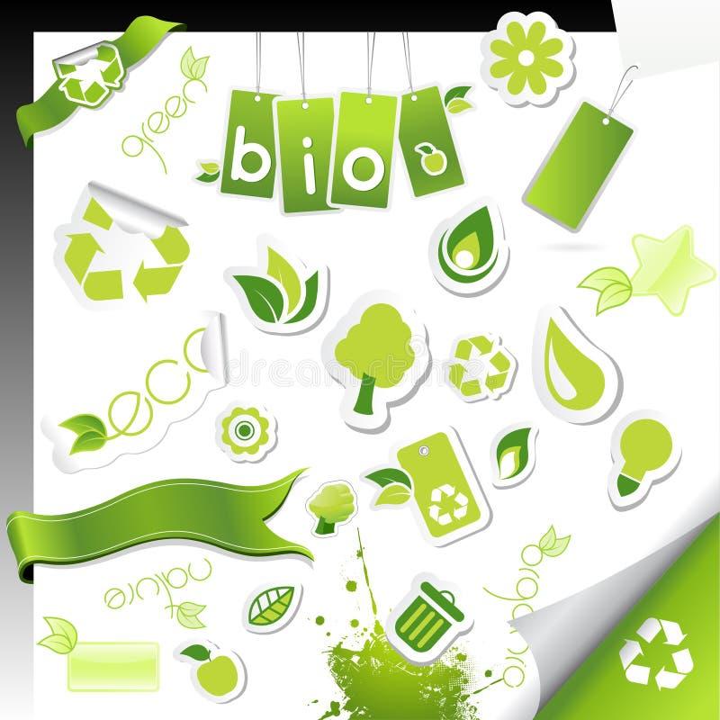 Jogo de ícones da ecologia. ilustração do vetor