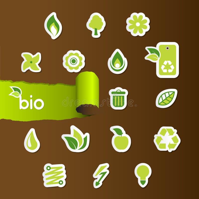 Jogo de ícones da ecologia ilustração do vetor