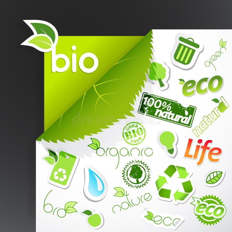 Jogo de ícones da ecologia. ilustração royalty free