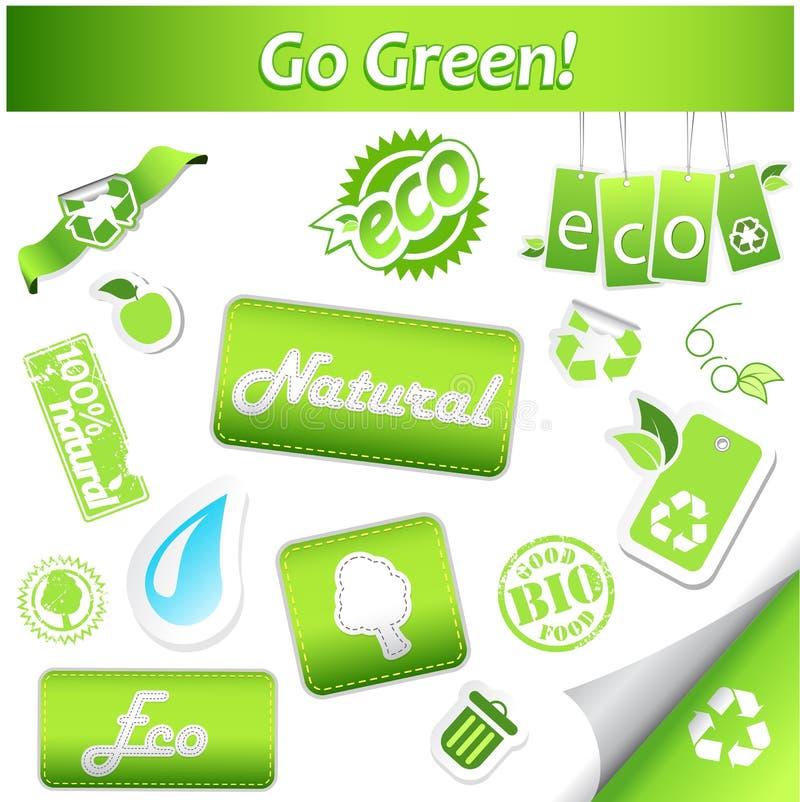 Jogo de ícones da ecologia ilustração stock