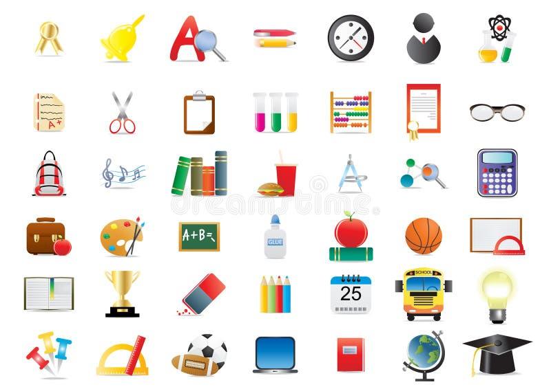 Jogo de ícones da escola ilustração stock