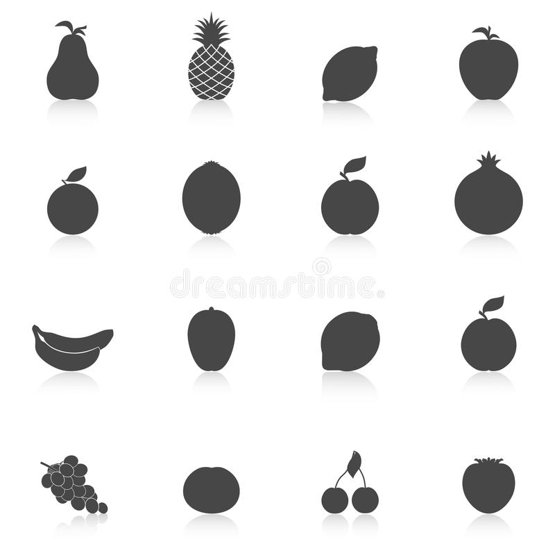 Jogo de ícones das frutas ilustração do vetor