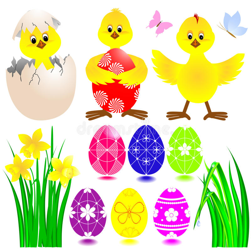 Jogo de ícones de Easter. ilustração royalty free