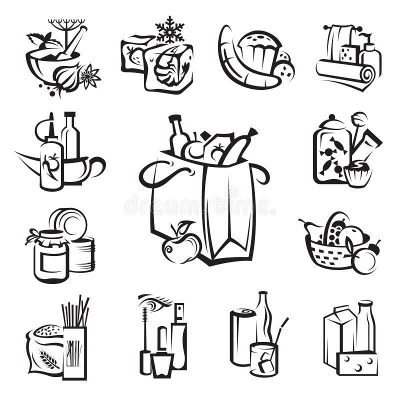 Jogo de ícones do alimento e dos bens ilustração do vetor