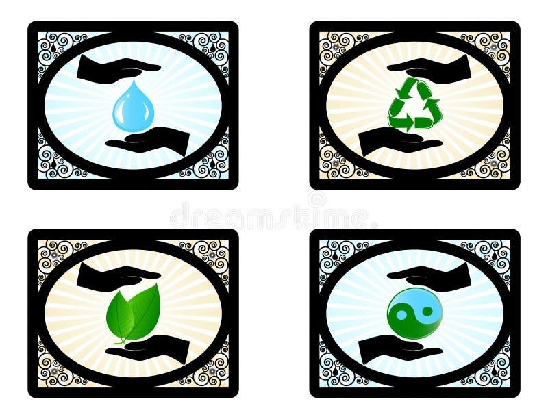 jogo de ícones do ambiente com mão humana ilustração royalty free