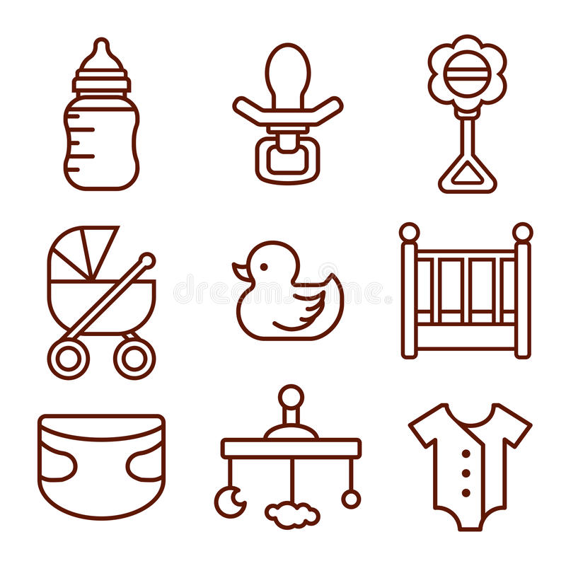 Jogo de ícones do bebê Grupo de elementos da garatuja Logotipos das crianças ilustração stock