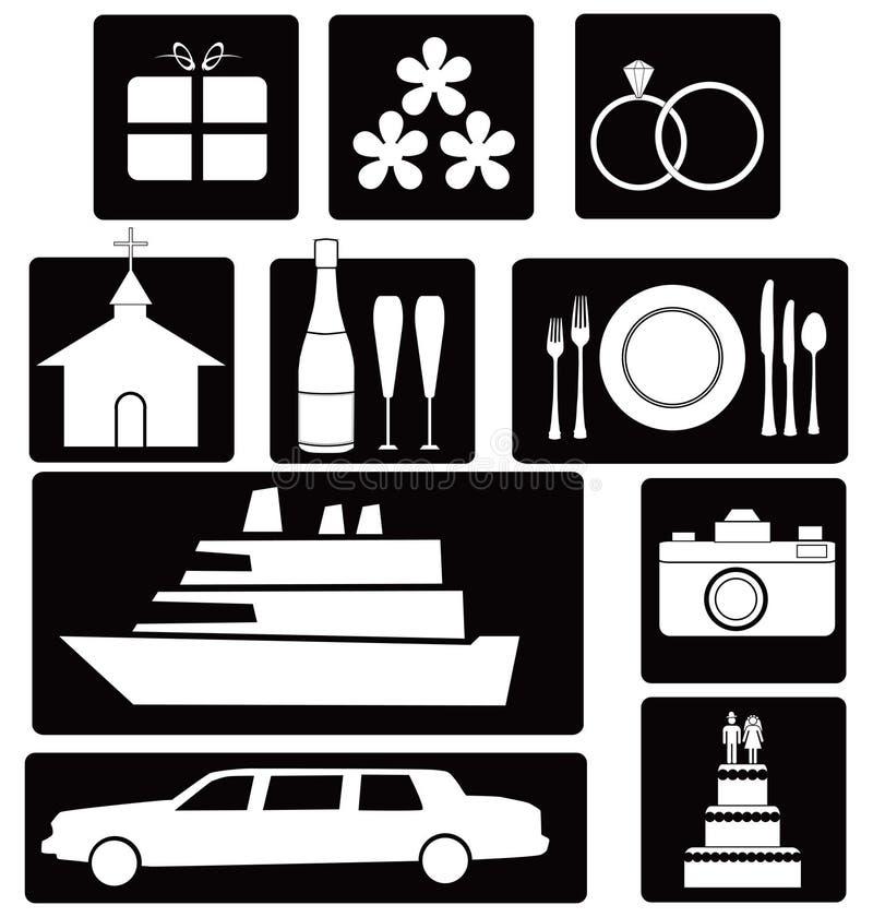 Jogo de ícones do casamento ilustração stock