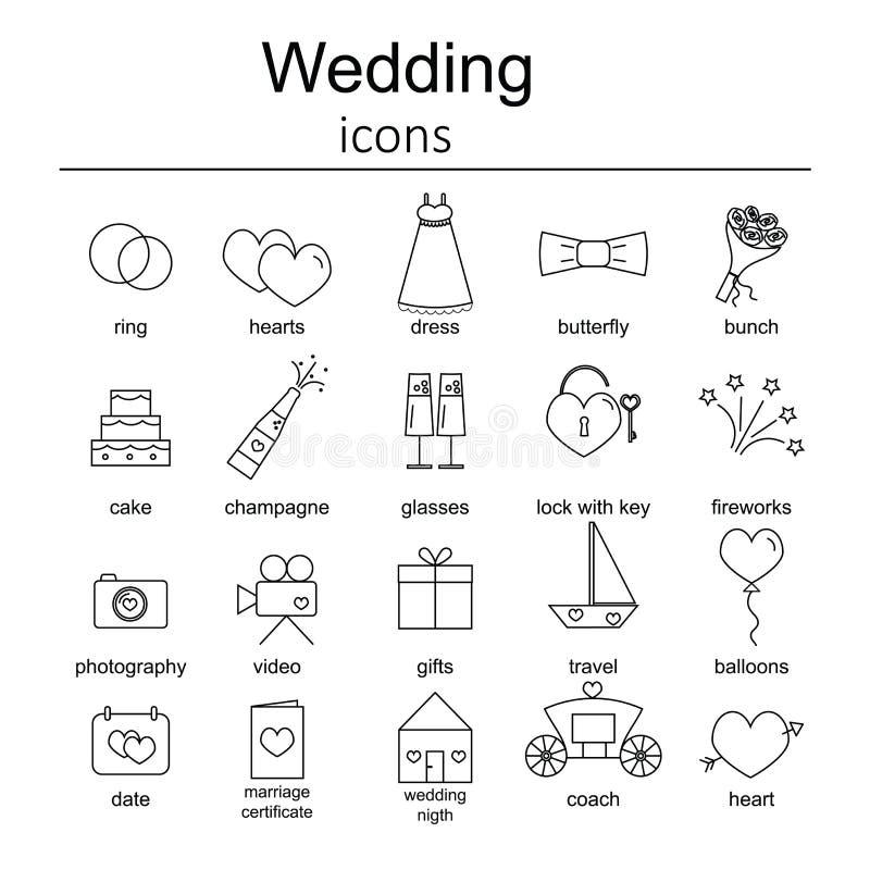 Jogo de ícones do casamento ilustração do vetor