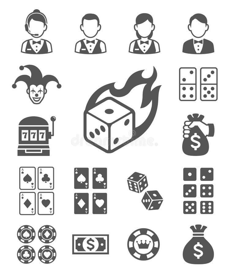 Jogo de ícones do casino ilustração royalty free