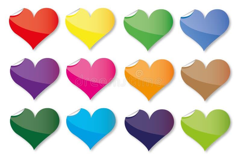 Jogo de ícones do coração ilustração stock