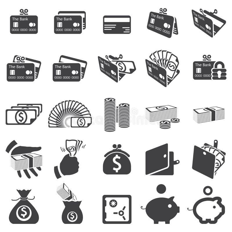 Jogo de ícones do dinheiro ilustração stock
