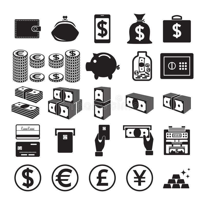 Jogo de ícones do dinheiro ilustração do vetor
