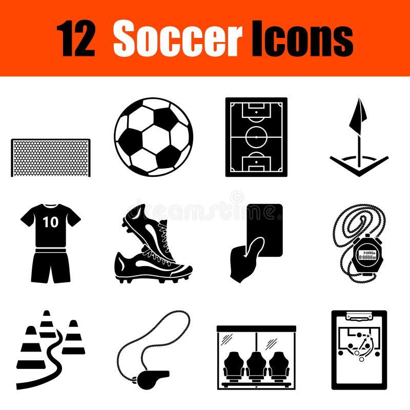 Jogo de ícones do futebol ilustração royalty free