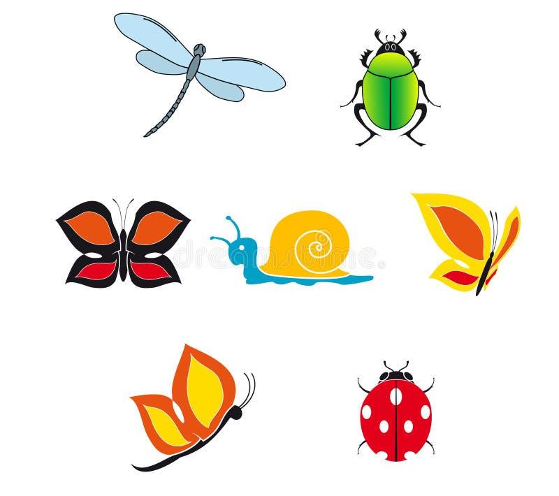 Jogo de ícones do inseto ilustração stock