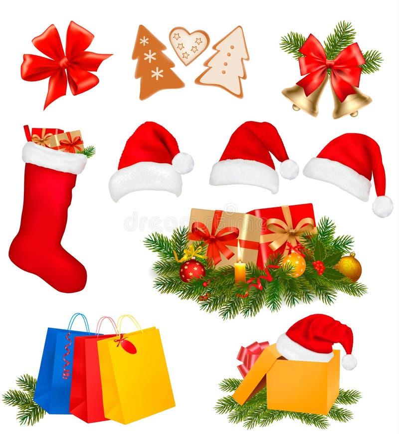 Jogo de ícones do Natal. Ilustração do vetor. ilustração stock