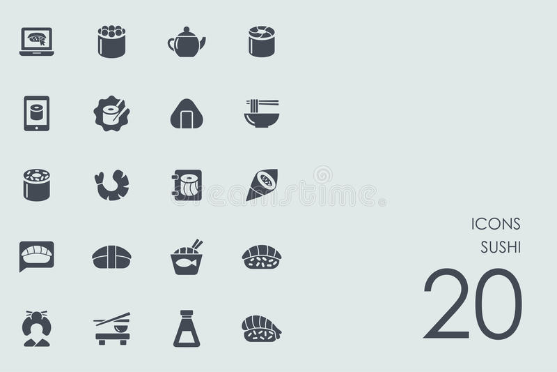 Jogo de ícones do sushi ilustração stock