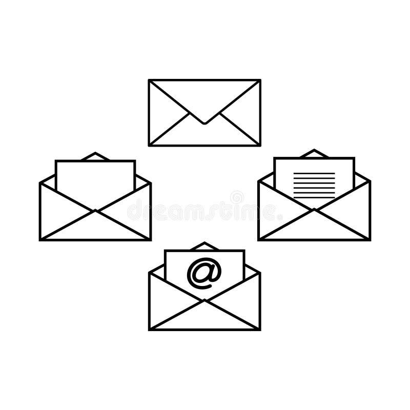 Jogo de ícones dos envelopes ilustração stock