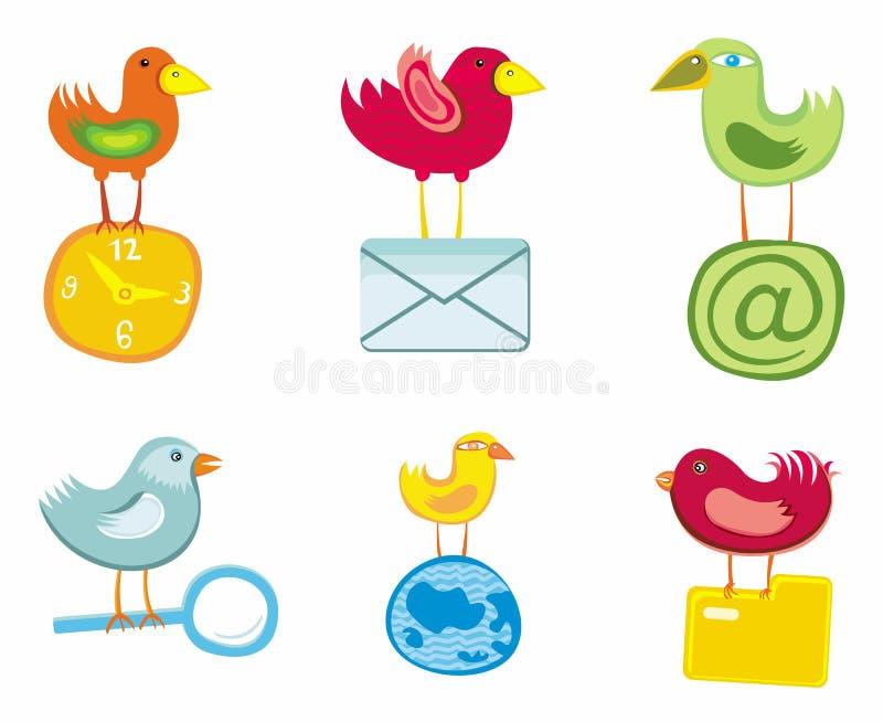 Jogo de ícones dos pássaros para o Web site ilustração stock