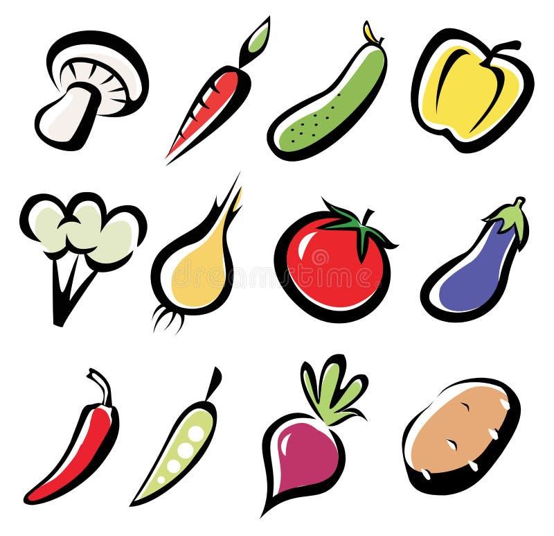 Jogo de ícones dos vegetais ilustração do vetor