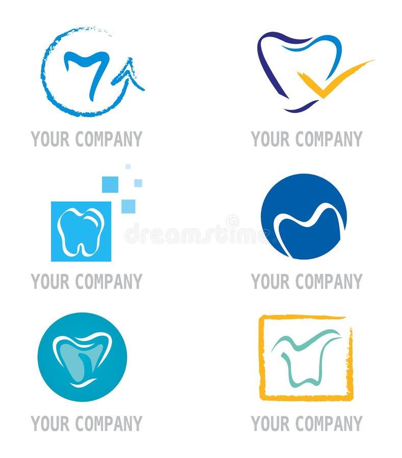 Jogo de ícones e de elementos do dente para o projeto do logotipo ilustração royalty free
