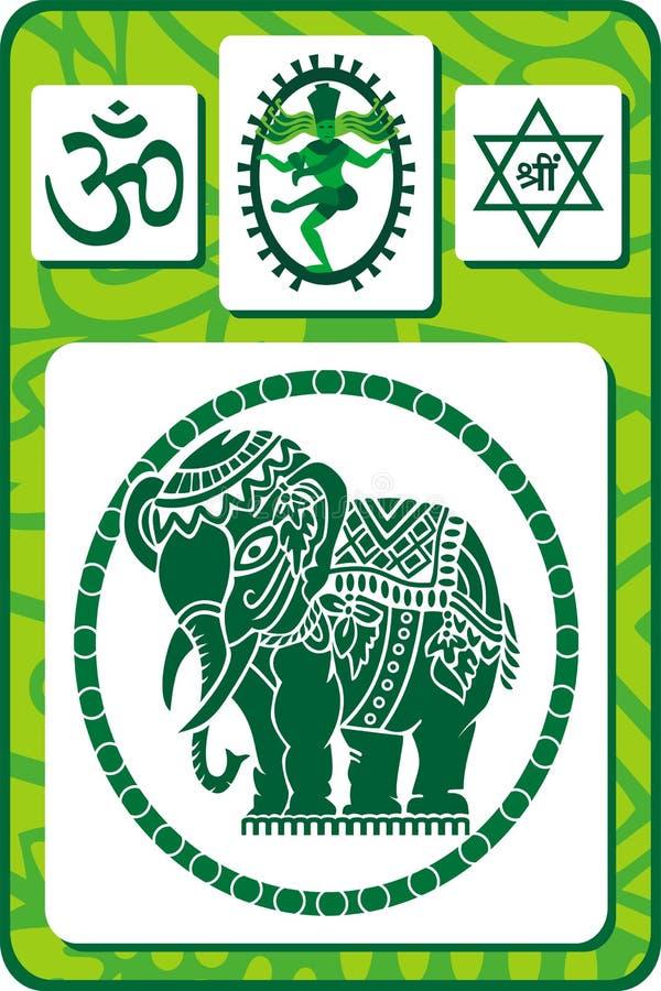 Jogo de ícones e de símbolos indianos