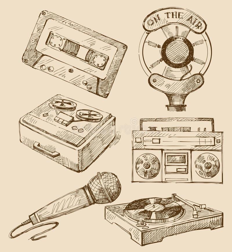Jogo de ícones hand-drawn da música ilustração do vetor