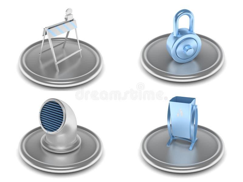 Jogo de ícones industriais ilustração do vetor
