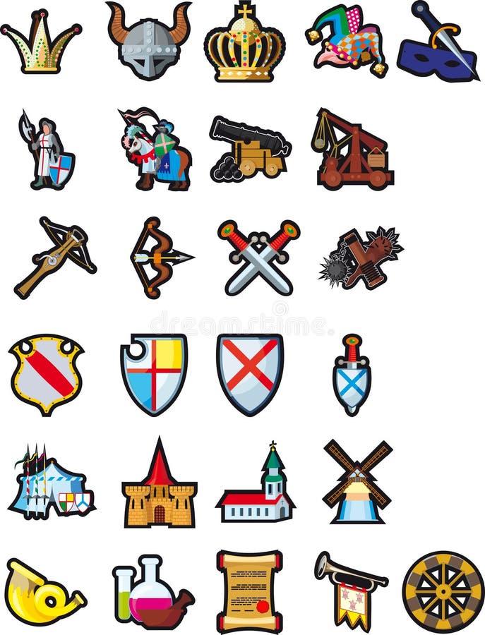 Jogo de ícones medievais ilustração stock