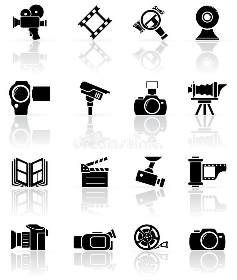 Jogo de ícones pretos do foto-vídeo ilustração stock