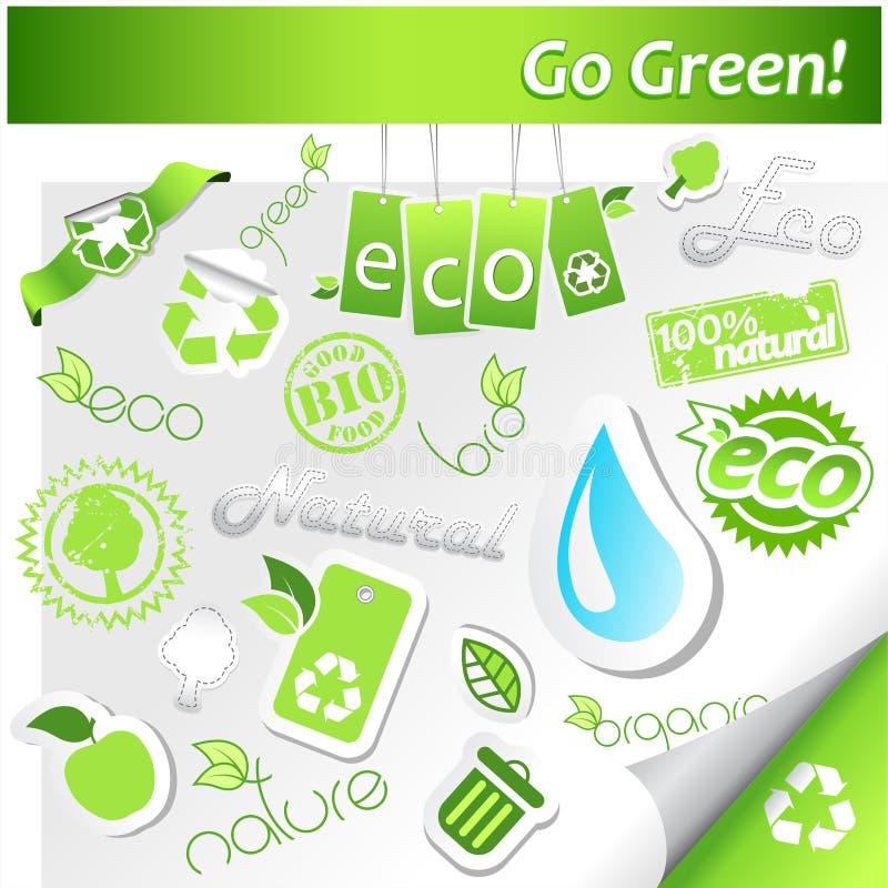 Jogo de ícones verdes da ecologia. ilustração do vetor