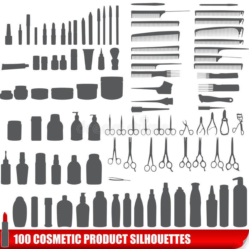 Jogo de 100 silhuetas cosméticas do produto ilustração royalty free
