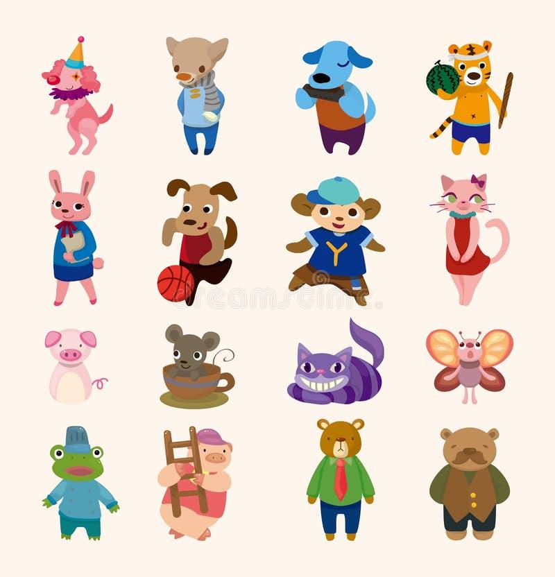 Jogo de 16 ícones animais bonitos ilustração do vetor