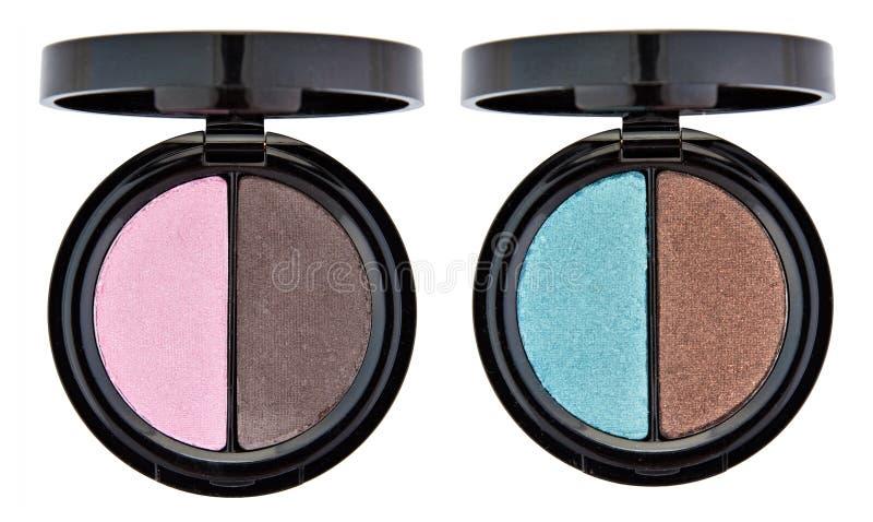 Jogo de 2 sombras de olho coloridos foto de stock
