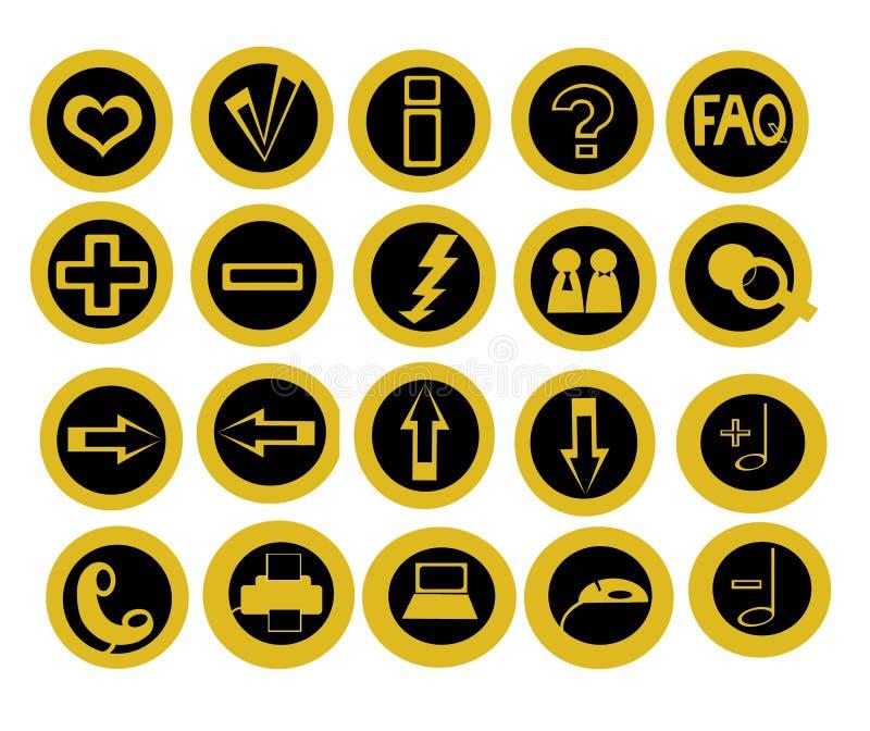 Jogo de 20 ícones úteis da tecnologia ilustração stock