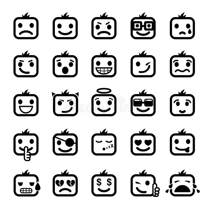 Jogo de 25 faces do smiley ilustração royalty free