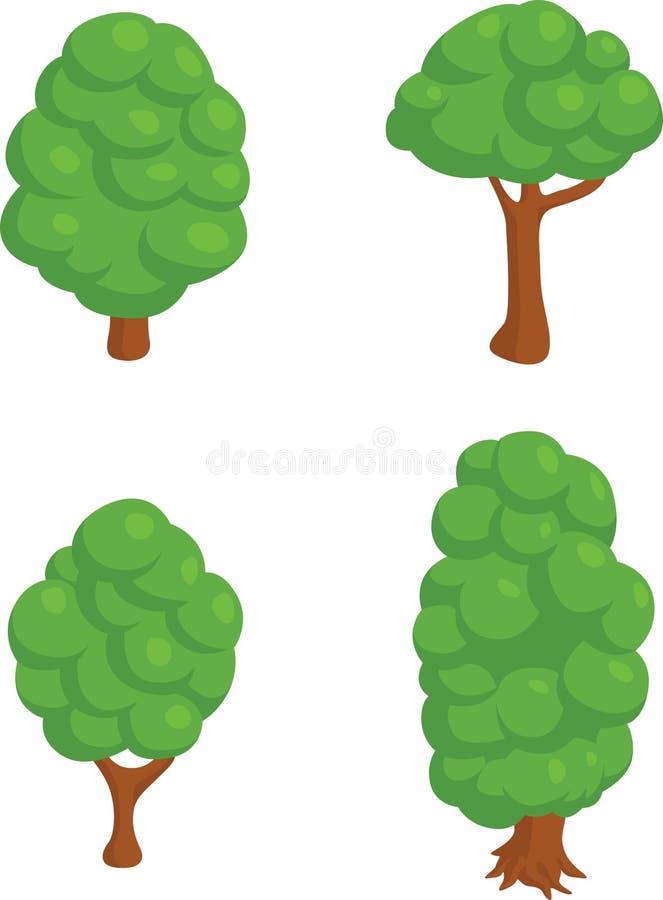 Jogo de 4 árvores isométricas ilustração do vetor
