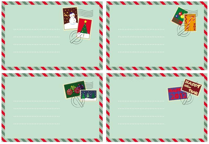 Jogo de 4 envelopes com selos do Natal ilustração do vetor