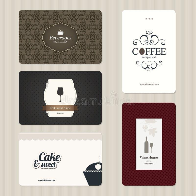 Jogo de 5 cartões detalhados ilustração royalty free