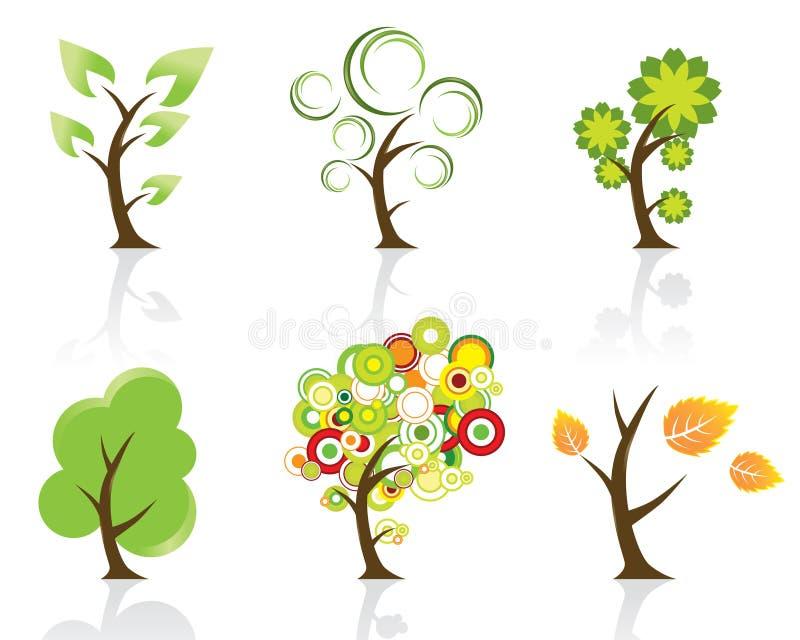 Jogo de 6 árvores abstratas de Swirly ilustração royalty free