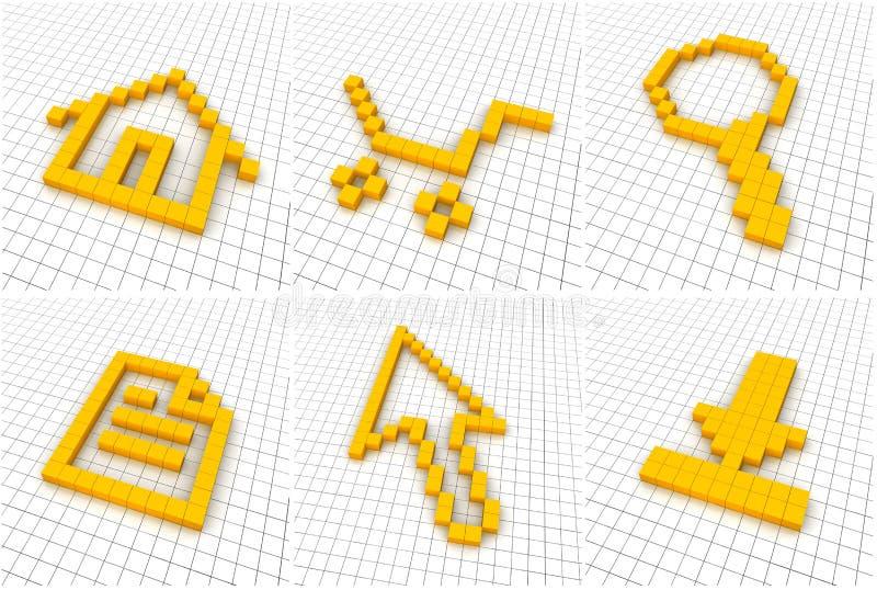 Jogo de 6 ícones alaranjados na grade ilustração royalty free