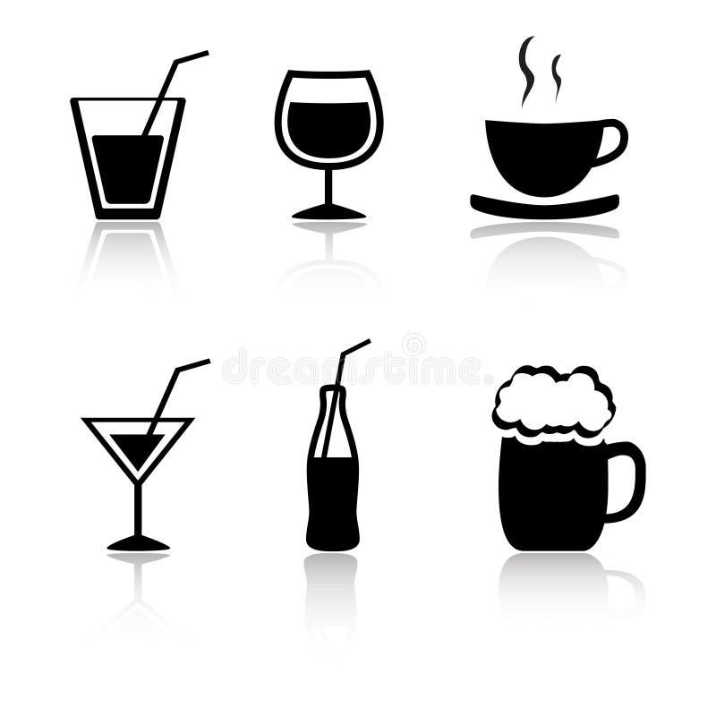 Jogo de 6 ícones da bebida ilustração royalty free
