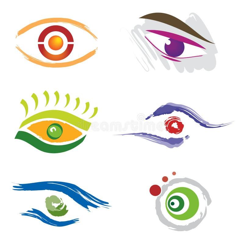 Jogo de 6 ícones do olho ilustração do vetor