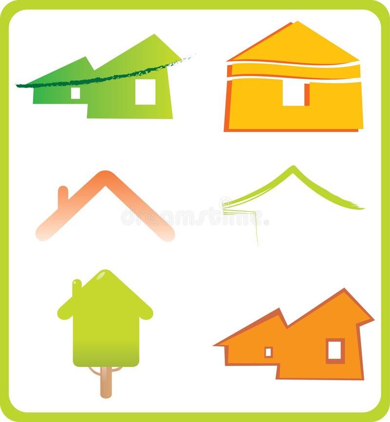 Jogo de 6 ícones dos bens imobiliários e ele de construção do projeto