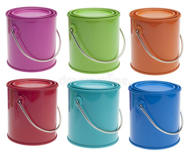 Jogo de 6 latas coloridas da pintura fotografia de stock royalty free